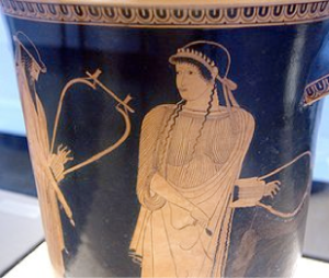 Sappho on an Attic red-figure vase by the Brygos painter.